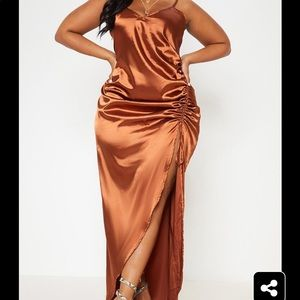 Copper Satin Strappy Ruched Split Leg Maxi Dress